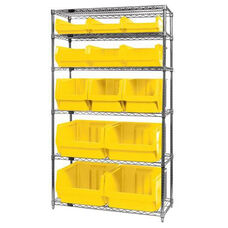 Wire Shelving Unit with 13 Magnum Bins - Yellow