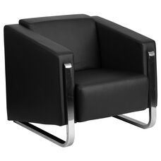 HERCULES Gallant Series Contemporary Black Leather Chair with Stainless Steel Frame