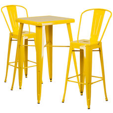 """Commercial Grade 23.75"""" Square Yellow Metal Indoor-Outdoor Bar Table Set with 2 Stools with Backs"""