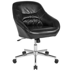 Marseille Home and Office Upholstered Mid-Back Chair in Black Leather