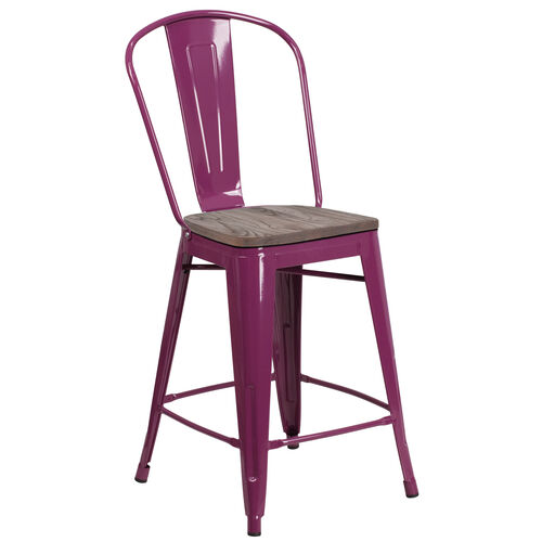 """Our 24"""" High Purple Metal Counter Height Stool with Back and Wood Seat is on sale now."""