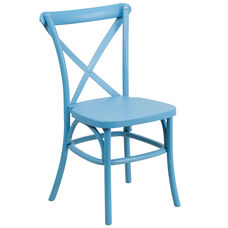 HERCULES Series Blue Resin Indoor-Outdoor Cross Back Chair with Steel Inner Leg