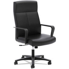Basyx® VL604 Series SofThread Leather High-Back Executive Chair with Plastic Arms - Black Leather