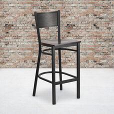 Black Grid Back Metal Restaurant Barstool with Walnut Wood Seat