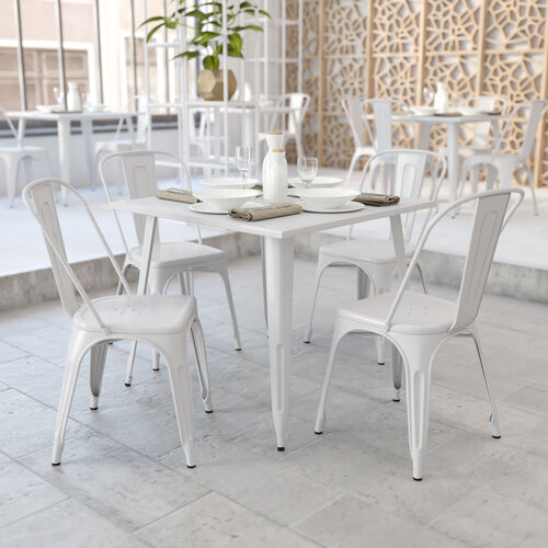 """Commercial Grade 35.5"""" Square White Metal Indoor-Outdoor Table"""