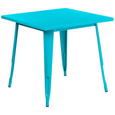 """Commercial Grade 31.5"""" Square Crystal Teal-Blue Metal Indoor-Outdoor Table"""