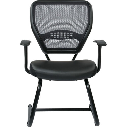 Space Professional Air Grid Back Visitors Chair with Bonded Leather Seat - Black