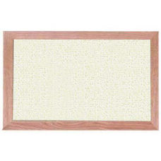 Burlap Weave Vinyl Bulletin Board with Red Oak Frame and Clear Lacquer Finish - White Rice - 12