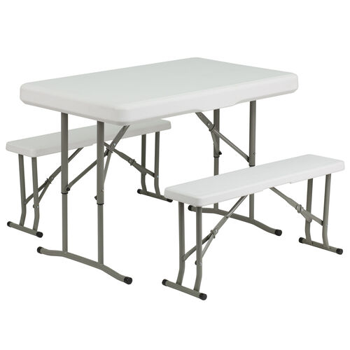 White plastic fold tablebench dad ycz 103 gg our plastic folding table and bench set is on sale now watchthetrailerfo