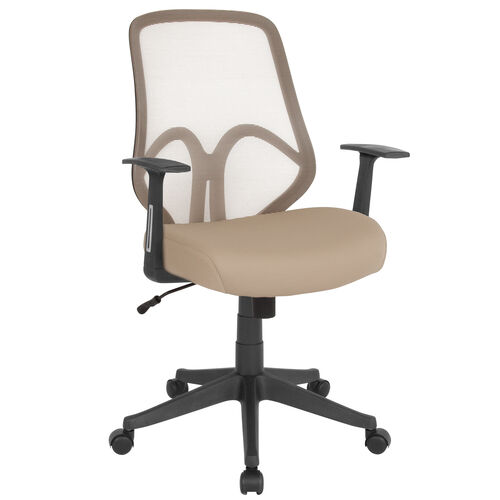 Salerno Series High Back Light Brown Mesh Office Chair with Arms