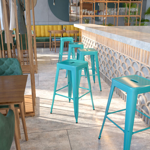 """Commercial Grade 30"""" High Backless Crystal Teal-Blue Indoor-Outdoor Barstool"""