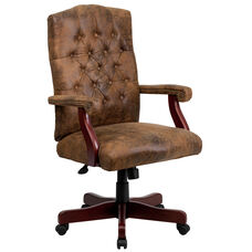 Bomber Brown Classic Executive Swivel Office Chair with Arms