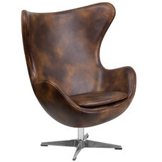 Bomber Jacket Leather Egg Chair with Tilt-Lock Mechanism