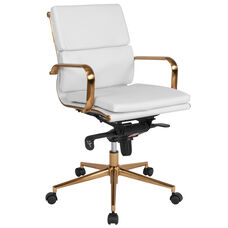 Mid-Back White Leather Executive Swivel Chair with Gold Frame, Synchro-Tilt Mechanism and Arms