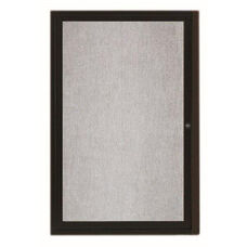 1 Door Outdoor Illuminated Enclosed Bulletin Board with Black Powder Coated Aluminum Frame - 24