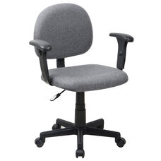 Mid-Back Gray Fabric Swivel Task Office Chair with Adjustable Arms