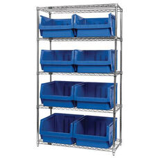Wire Shelving Unit with 8 Magnum Bins - Blue