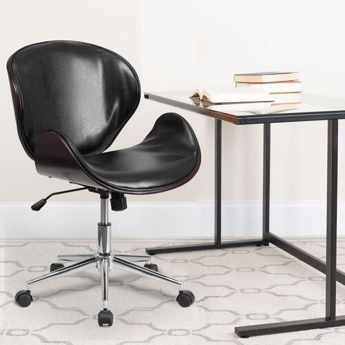 Our Mid-Back Mahogany Wood Conference Office Chair in Black LeatherSoft is on sale now.