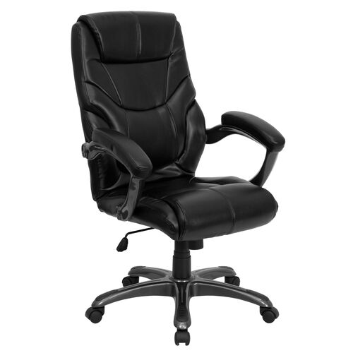 Our High Back Black LeatherSoft Overstuffed Executive Swivel Ergonomic Office Chair with Arms is on sale now.