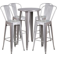 "Commercial Grade 24"" Round Silver Metal Indoor-Outdoor Bar Table Set with 4 Cafe Stools"