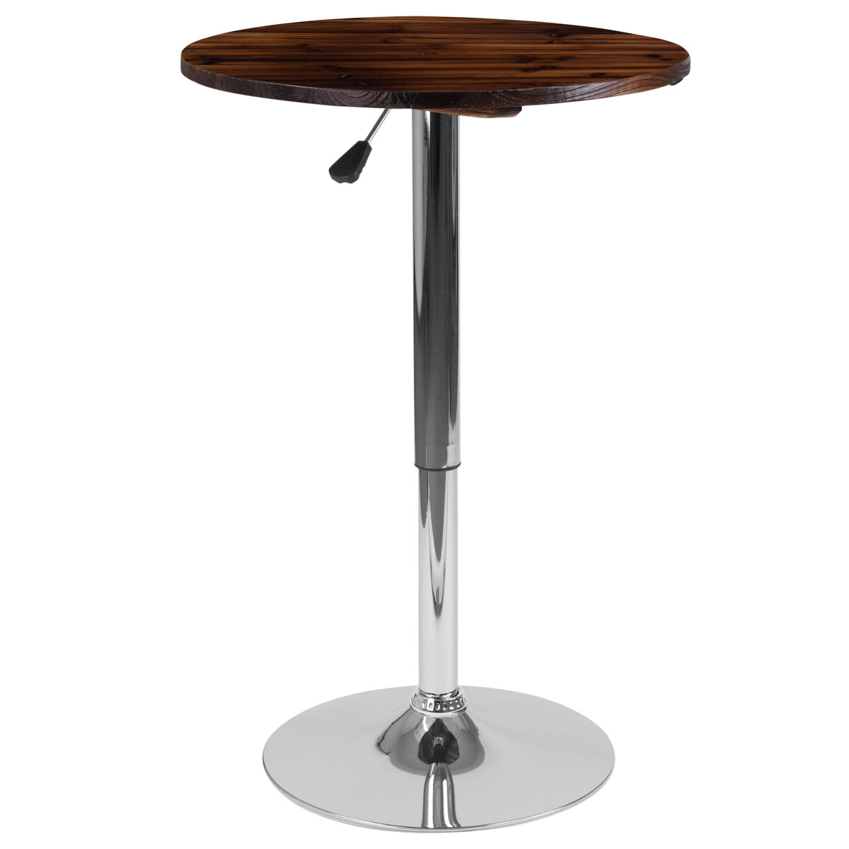 Standard Furniture Cosmo Adjustable Height Round Wood Top: 23.5'' Round Adjustable Height Rustic Pine Wood Table