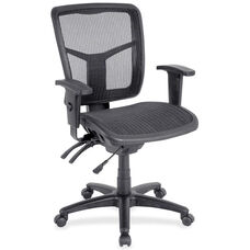 Lorell Black Mesh Mid-Back Managerial Chair with Adjustable Arms and Black Mesh Seat