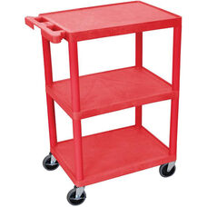 3 Shelf Structural Foam Plastic Utility Cart - Red - 24