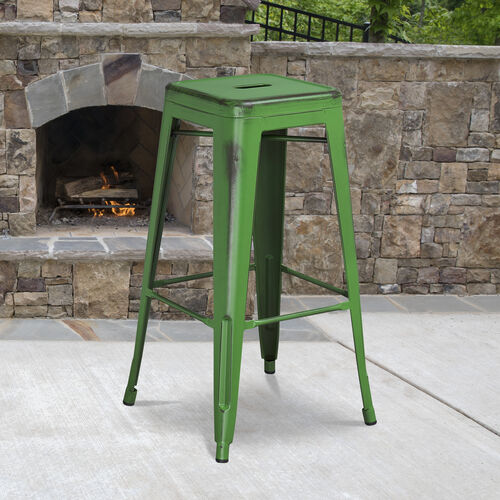 "Our Commercial Grade 30"" High Backless Distressed Green Metal Indoor-Outdoor Barstool is on sale now."