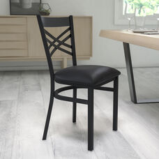 Black ''X'' Back Metal Restaurant Chair with Black Vinyl Seat
