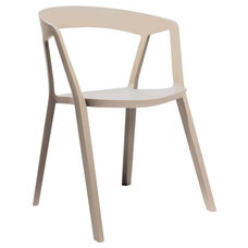 Milan Polypropylene Almond Modern Stackable Arm Chair - Set of 4