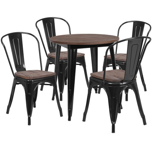"""26"""" Round Black Metal Table Set with Wood Top and 4 Stack Chairs"""