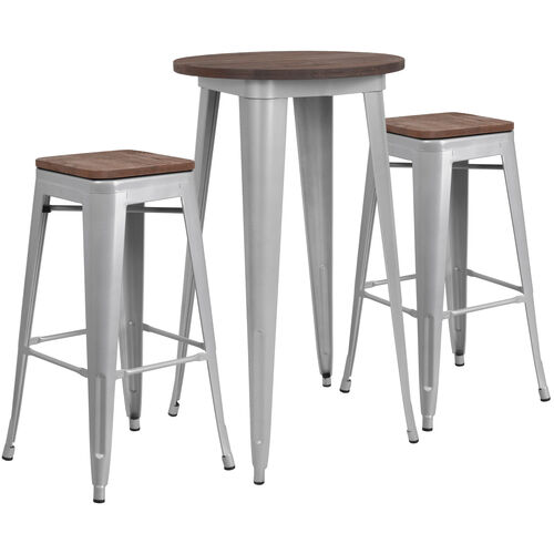 "Our 24"" Round Silver Metal Bar Table Set with Wood Top and 2 Backless Stools is on sale now."