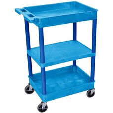 Heavy Duty Multi-Purpose Mobile Tub Utility Cart with 1 Flat Shelf and 2 Tub Shelves - Blue - 24