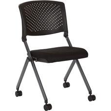 Work Smart Plastic Nesting Chair with Titanium Finish Frame - Set of 2 - Black Icon