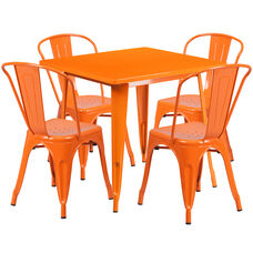 "Commercial Grade 31.5"" Square Orange Metal Indoor-Outdoor Table Set with 4 Stack Chairs"