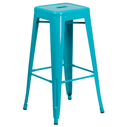 """Our Commercial Grade 30"""" High Backless Crystal Teal-Blue Indoor-Outdoor Barstool is on sale now."""