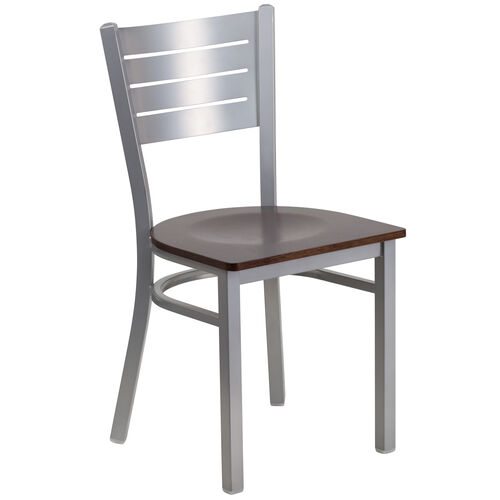 Our Silver Slat Back Metal Restaurant Chair with Walnut Wood Seat is on sale now.