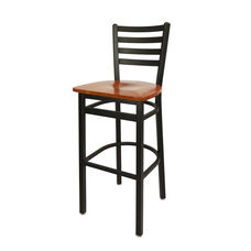 Lima Metal Ladder Back Barstool - Cherry Wood Seat