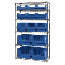 Wire Shelving Unit with 13 Magnum Bins - Blue