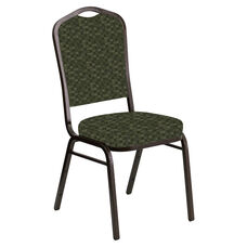Embroidered Crown Back Banquet Chair in Empire Fern Fabric - Gold Vein Frame