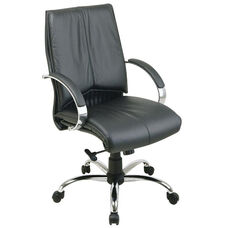 Pro-Line II Deluxe Mid Back Leather Chair with Chrome Base and Padded Chrome Arms - Black