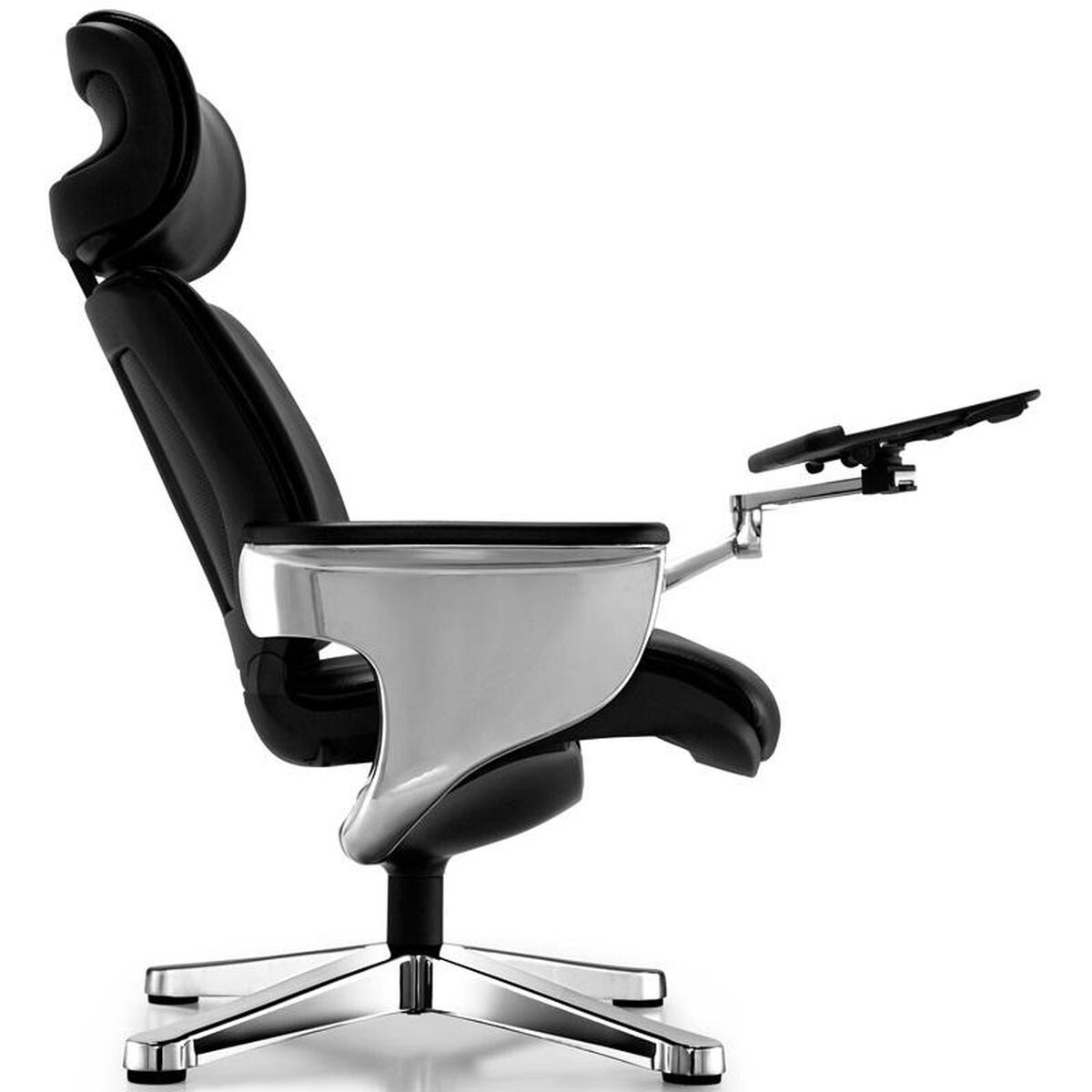 Our Nuvem Leather Office Chair With Footrest And Built In Laptop Holder Black Is On