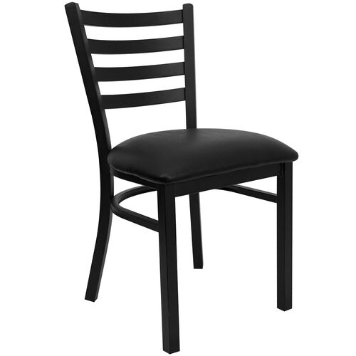 Black Ladder Back Metal Restaurant Chair with Black Vinyl Seat