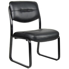 LeatherPlus Sled Base Side Chair without Arms - Black