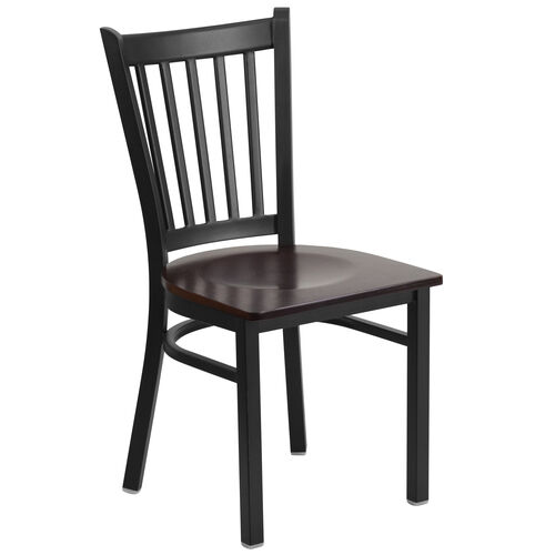 Our Black Vertical Back Metal Restaurant Chair with Walnut Wood Seat is on sale now.