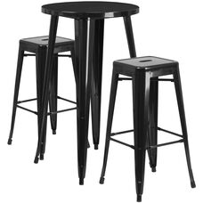 "Commercial Grade 24"" Round Black Metal Indoor-Outdoor Bar Table Set with 2 Square Seat Backless Stools"