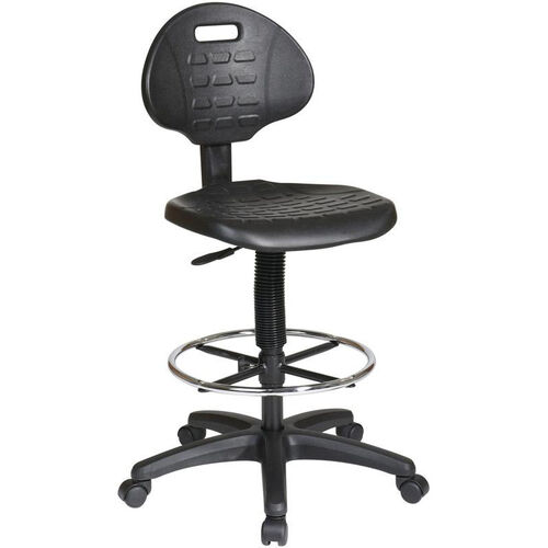 Our Work Smart Intermediate Drafting Chair with Adjustable Footrest and Dual Wheel Carpet Casters - Black is on sale now.