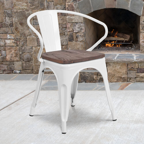 White Metal Chair with Wood Seat and Arms