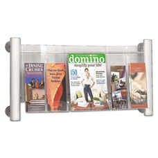 Safco® Luxe Magazine Rack - Three Compartments - 31-3/4w x 5d x 15-1/4h - Clear/Silver