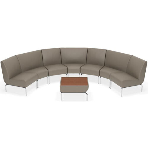 Triumph Curve Lounge Chair Set with Chrome Legs and Accent Table - Taupe
